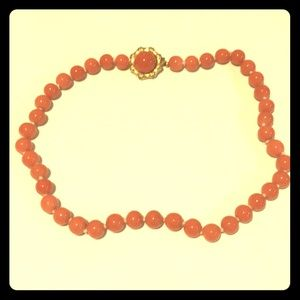 Vintage glass coral bead necklace with clasp